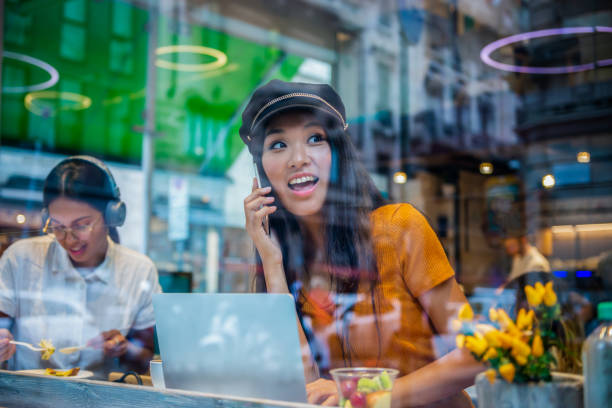 Freelance from caffe shop stock photo