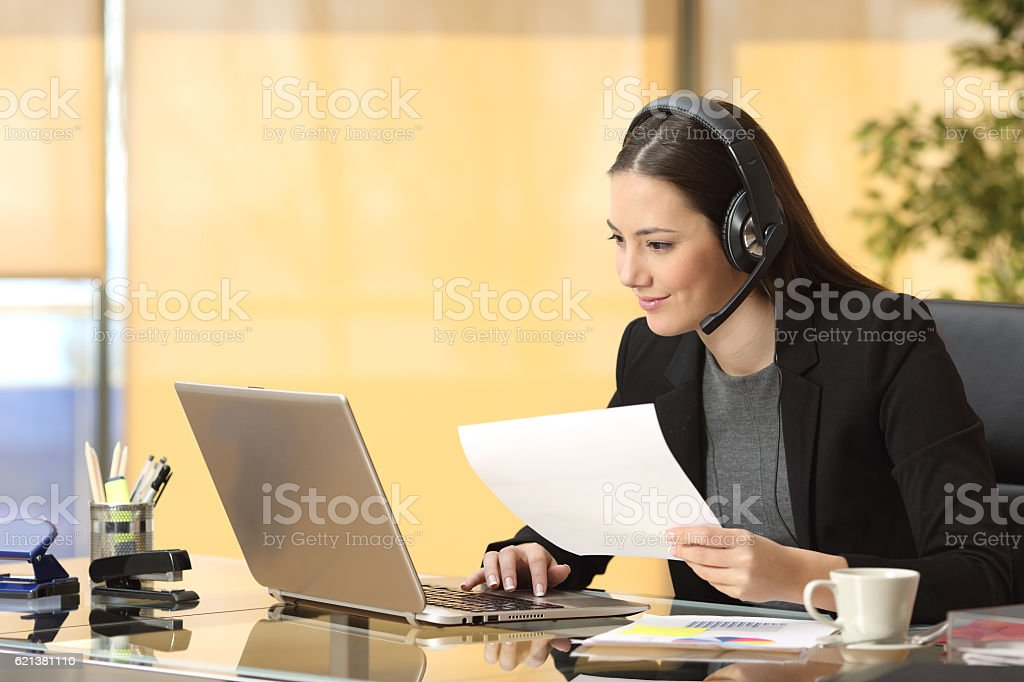 Freelance operator working online stock photo