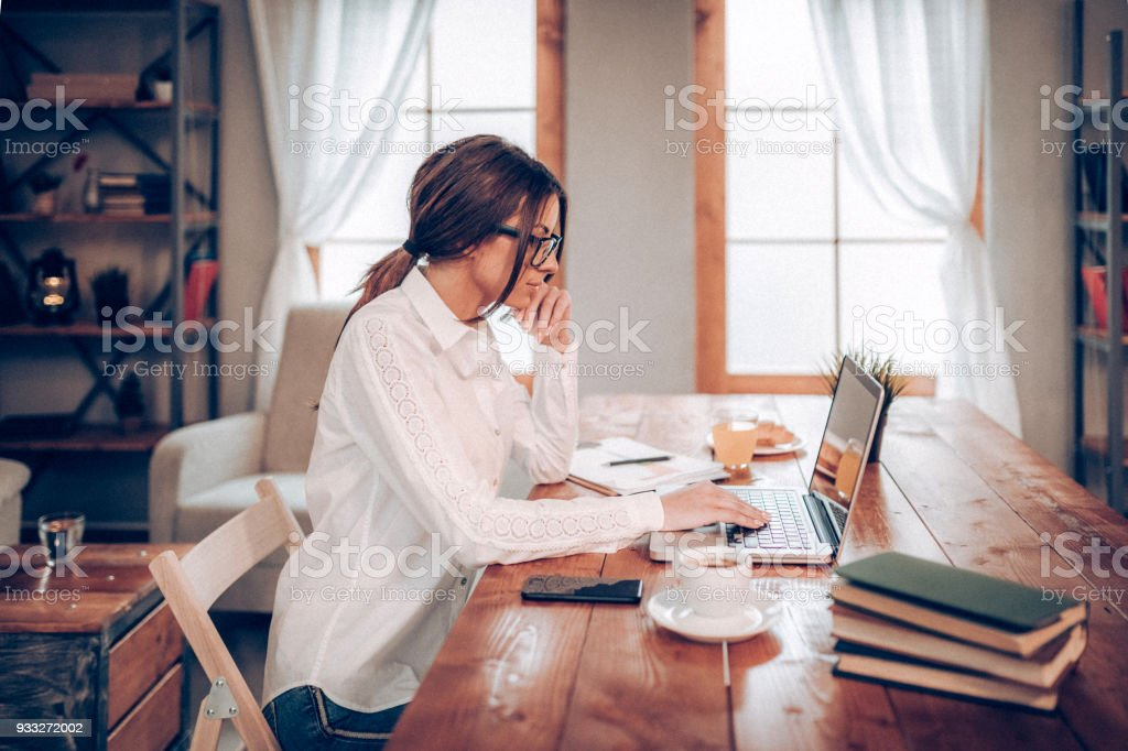 Freelance worker, working from home stock photo