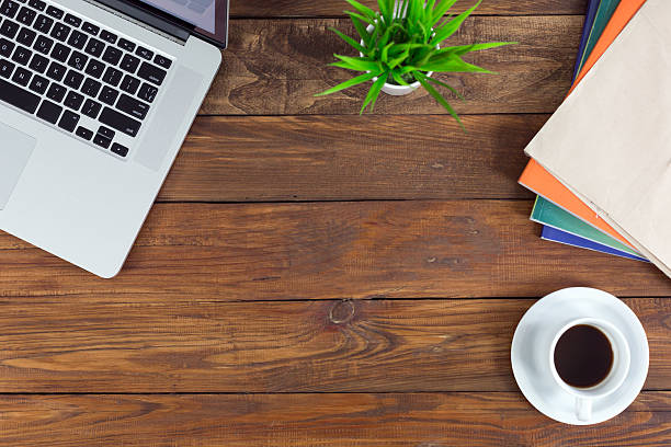Freelance working environment view of wooden Desk with Business Items – Foto