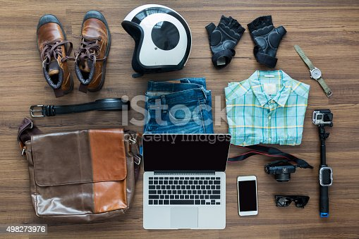 istock Freelancer needs mock up on wooden table in home interior 498273976