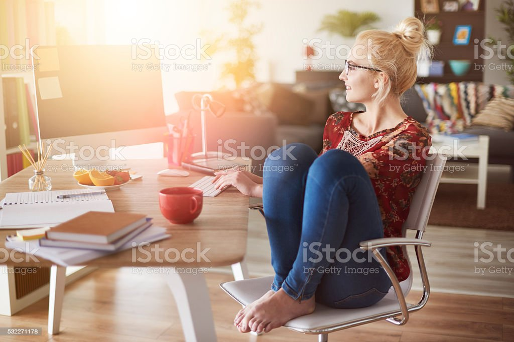 Freelancer working at home interior stock photo