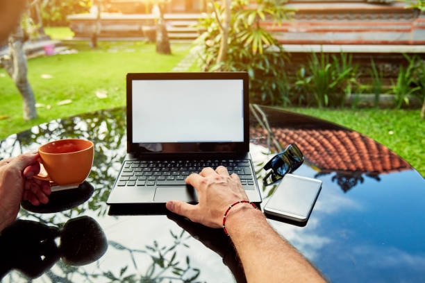 freier mitarbeiter arbeiten auf einem laptop und urlaub. - garden types stock-fotos und bilder