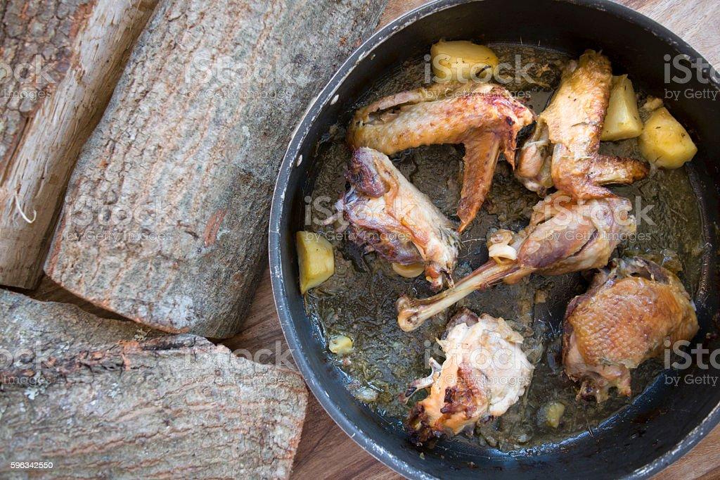 free-range grouse in pan Lizenzfreies stock-foto