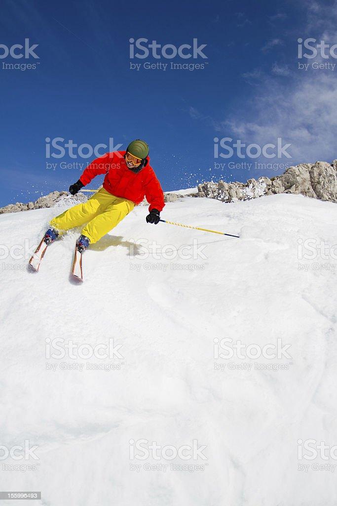 Freeride in fresh powder snow stock photo