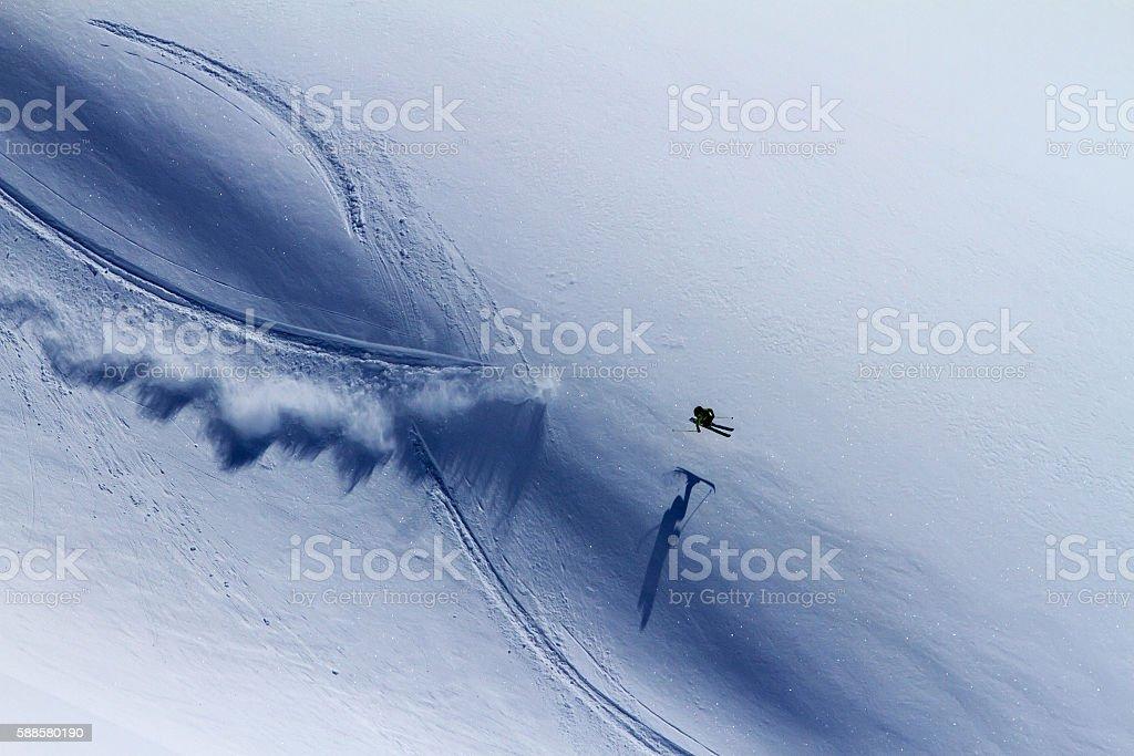 Freeride on Kamchatka stock photo