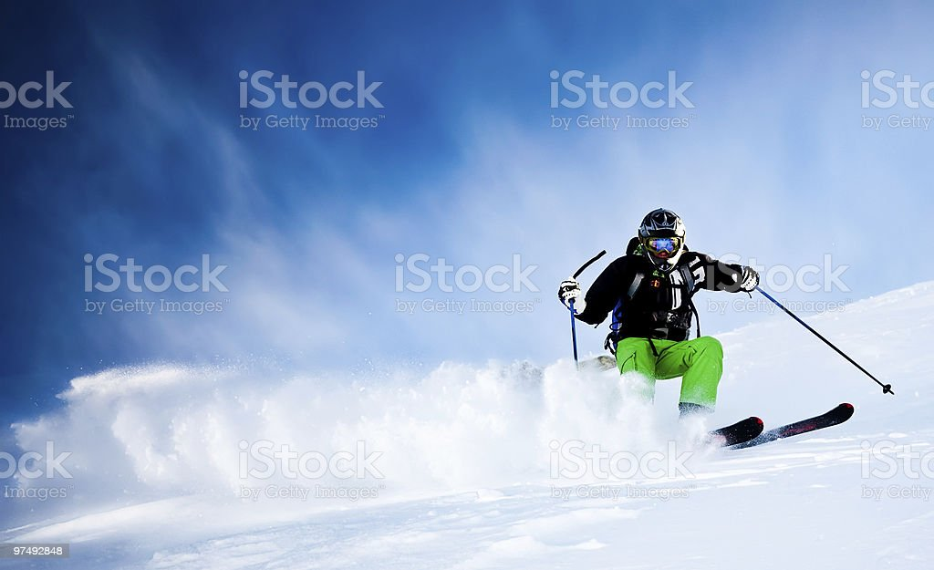 Freeride skier in powder snow royalty-free stock photo