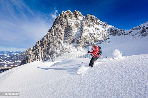 istock Freerider skier running downhill - Watzmann, Nationalpark Berchtesgaden in Alps 916841002