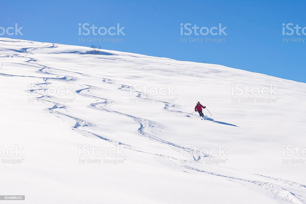 Freeriding on fresh powder snow stock photo