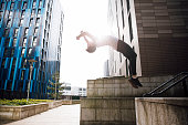 Freerunner doing a Backflip in the City