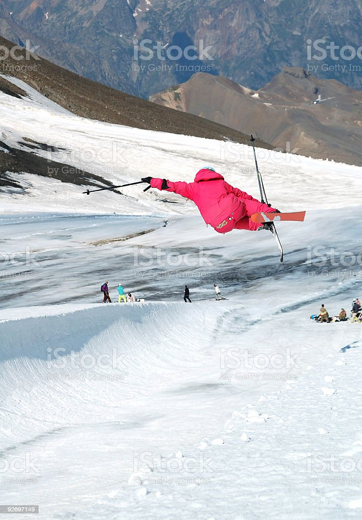 freeskier riding in a halfpipe royalty-free stock photo