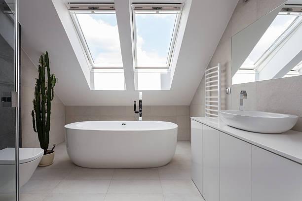 banheiro independente em branco de banheiro - porcelana - fotografias e filmes do acervo