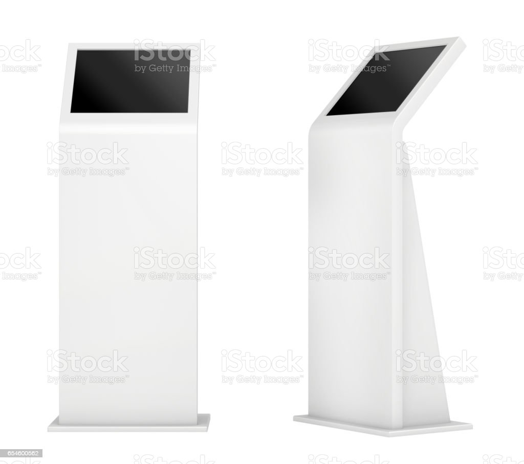 Freestanding information kiosk, terminal, stand. 3d rendering. - Photo