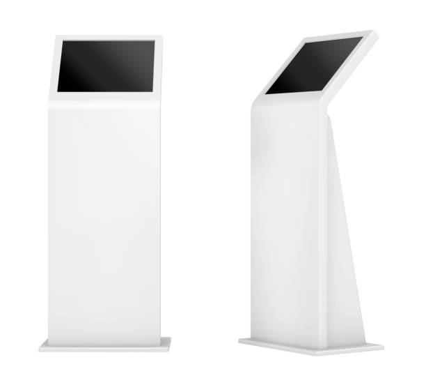 freestanding information kiosk, terminal, stand. 3d rendering. - stand foto e immagini stock