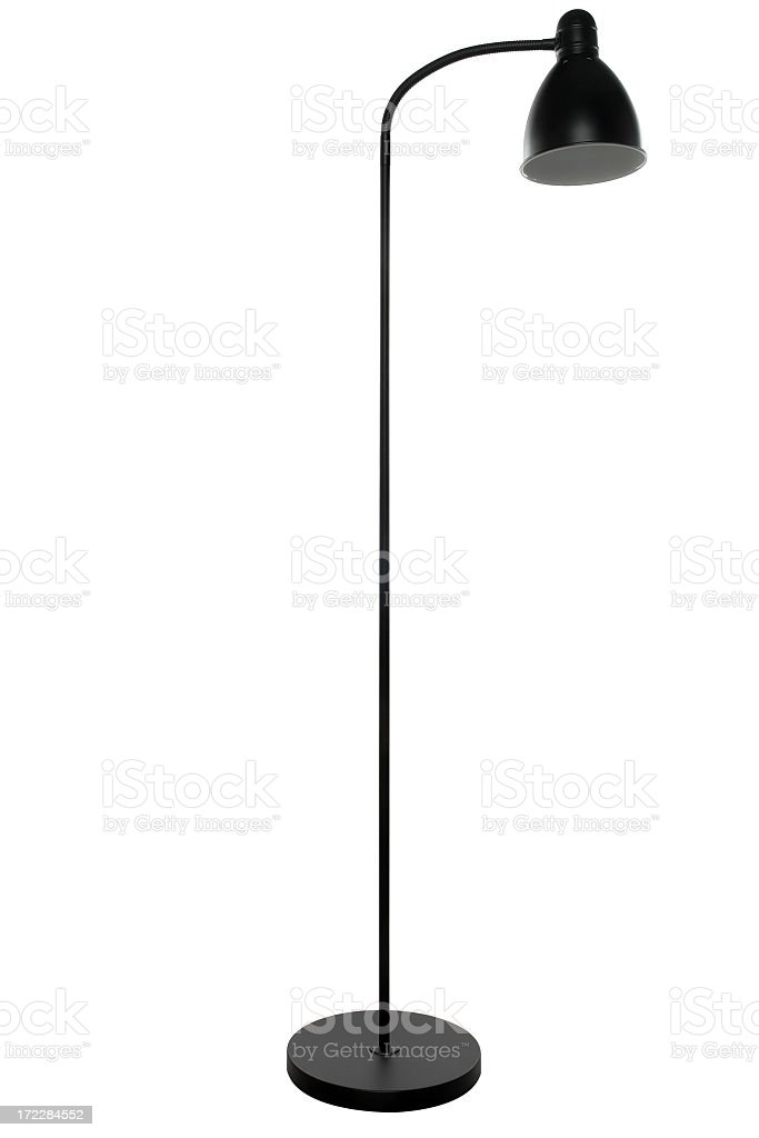 Free-standing tall black floor lamp, isolated on white background stock photo