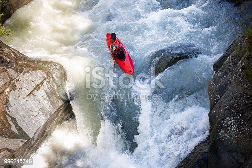 High-angle shot of a man running whitewater rapids in Austria.