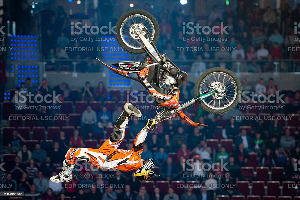 Freestyle Motocross FMX Trick stock photo