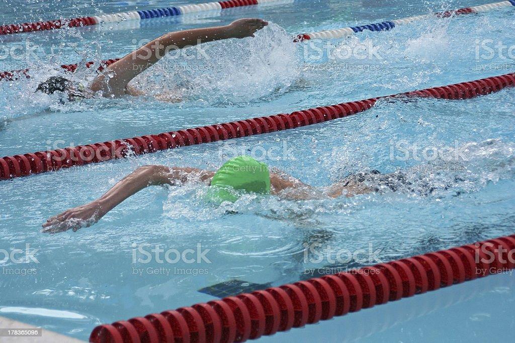 Freestyle race at dusk stock photo