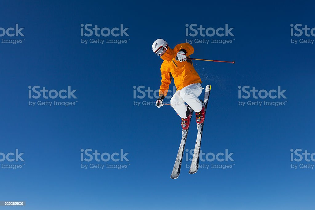 freestyle skier in air stock photo