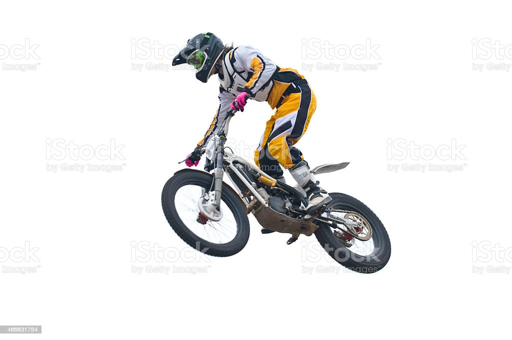 Freestyle stunt rider isolated on white. stock photo