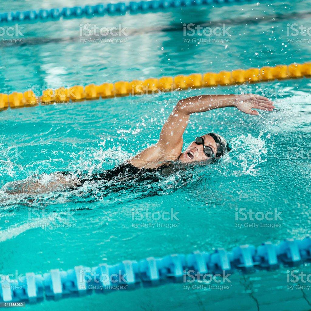 Freestyle swimmer stock photo