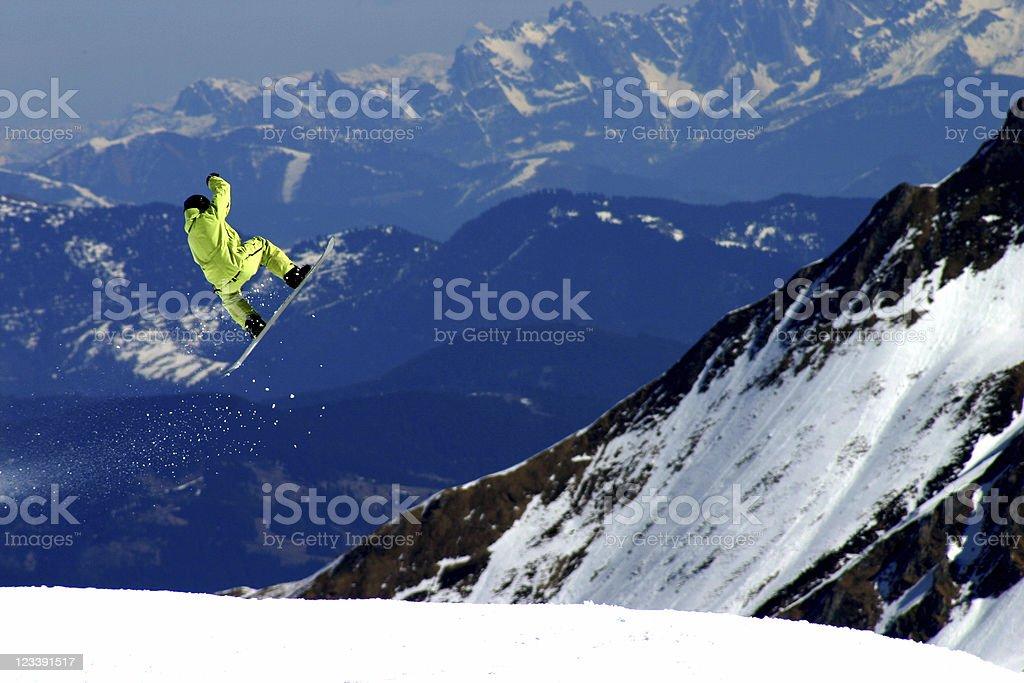 Freestyle-snowboarder in Kaprun Kitzsteinhorn area Austria royalty-free stock photo
