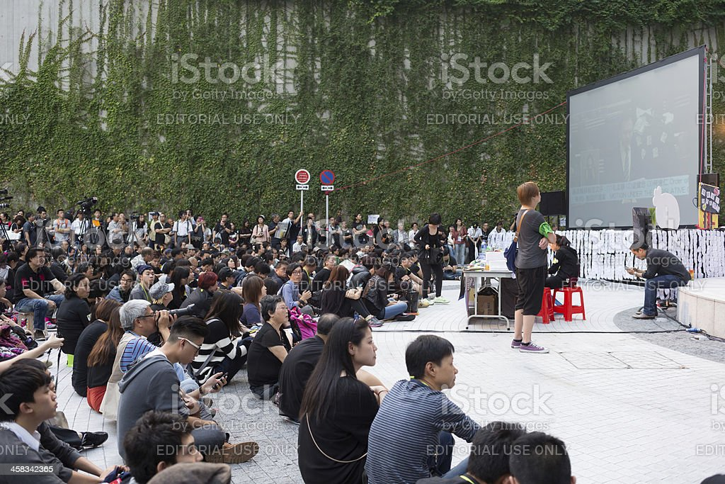 Free-to-air television licenses protest in Hong Kong royalty-free stock photo
