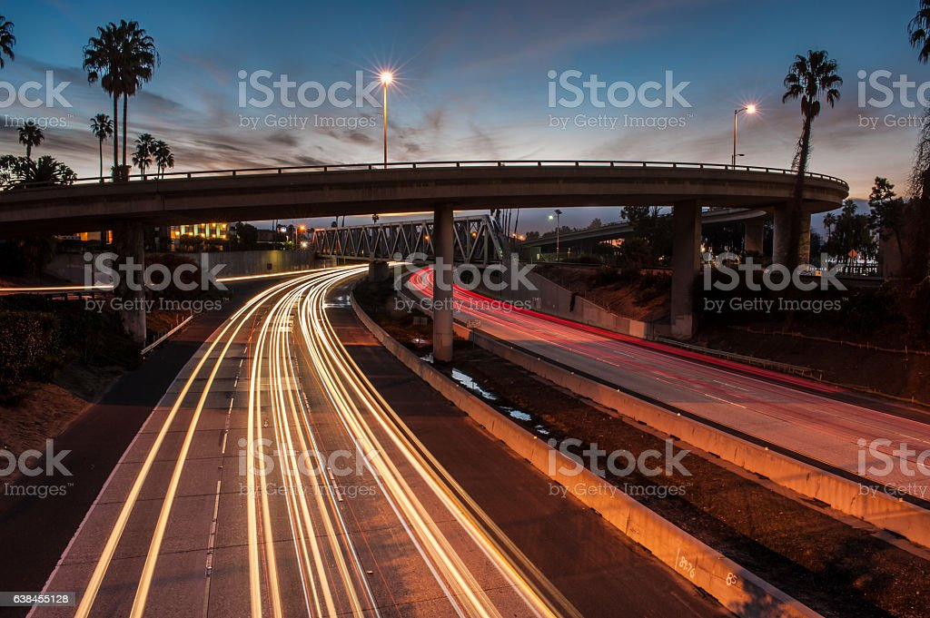 Freeway 101 traffic at dawn. stock photo