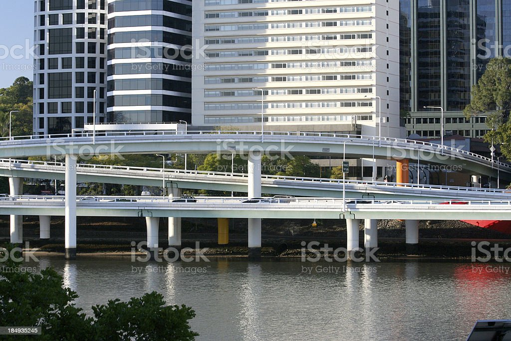freeway and buildings royalty-free stock photo