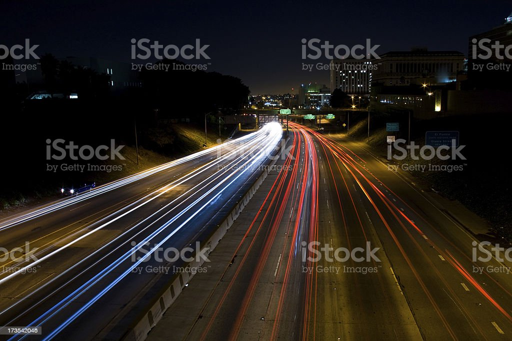 Freeway at Night in Los Angeles royalty-free stock photo