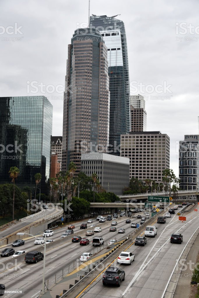 Freeway downtown Los Angeles stock photo