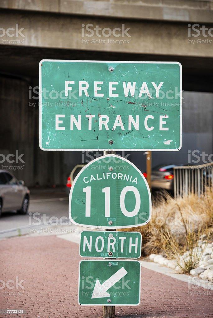 Freeway entrance road sign royalty-free stock photo