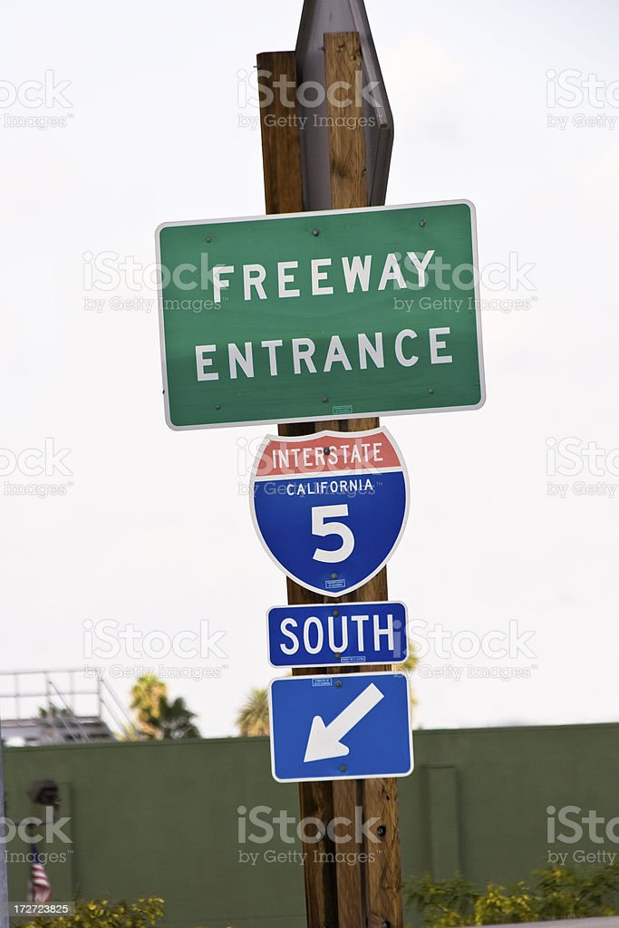 Freeway Entrance Sign royalty-free stock photo