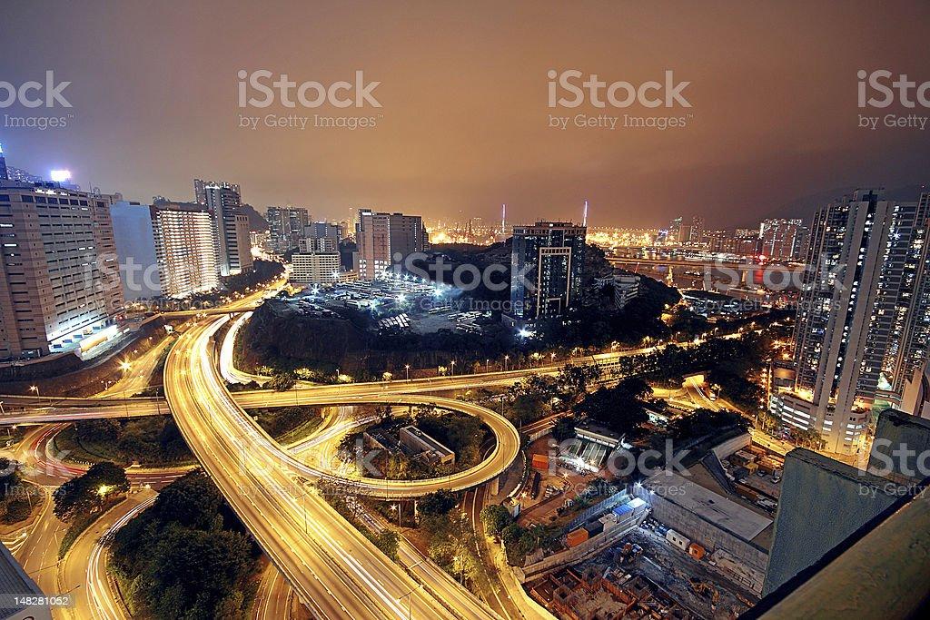 Freeway in night royalty-free stock photo