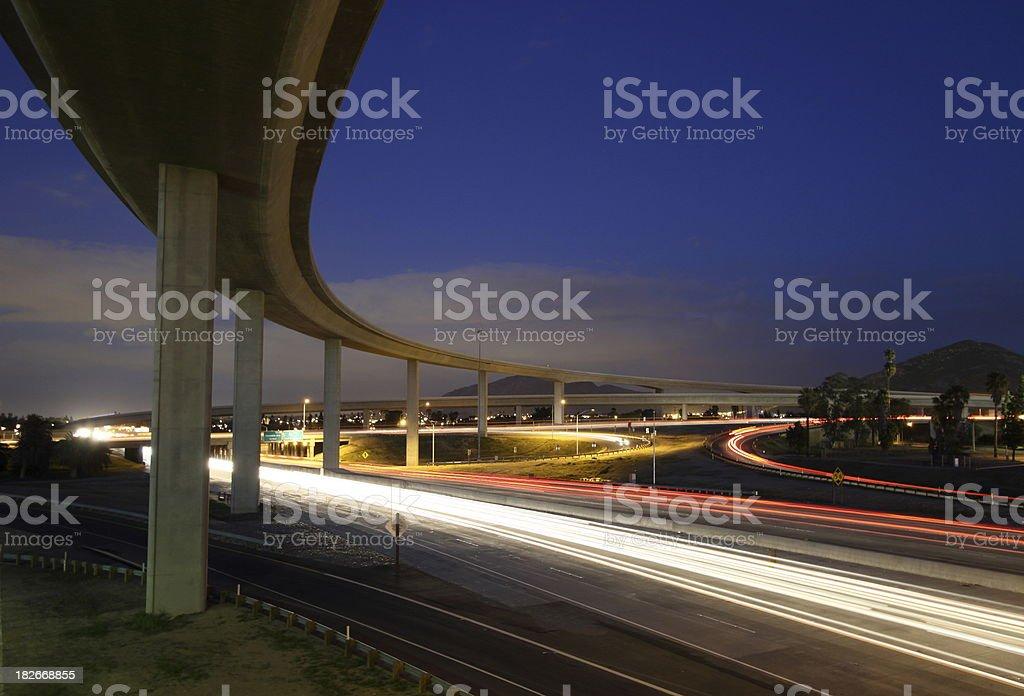 Freeway Interchange at Twilight royalty-free stock photo