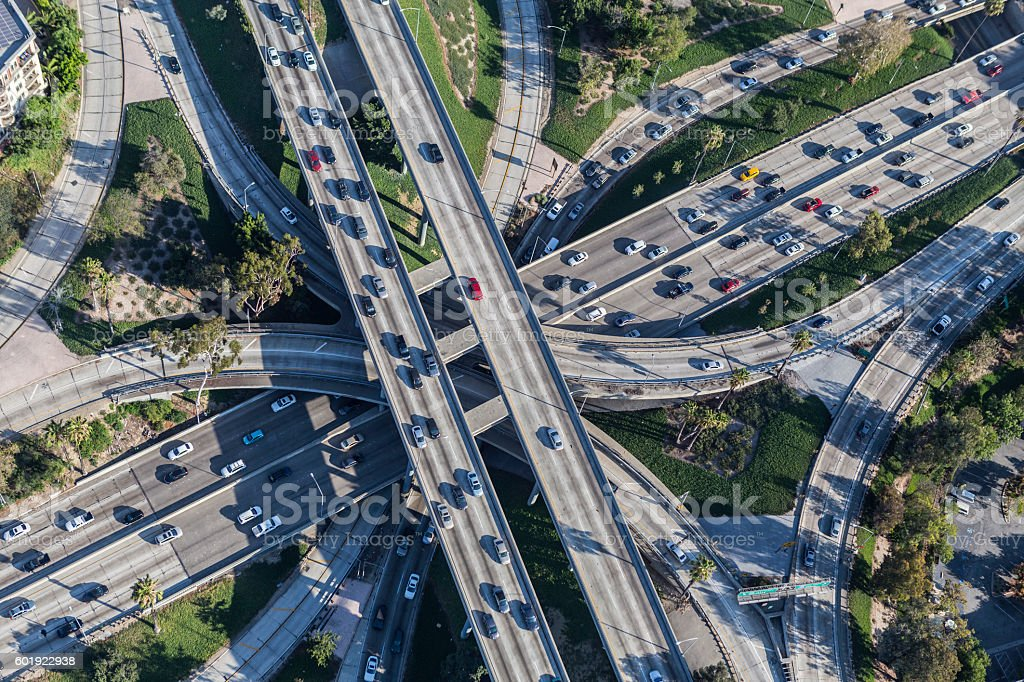 Freeway Interchange in Downtown Los Angeles stock photo
