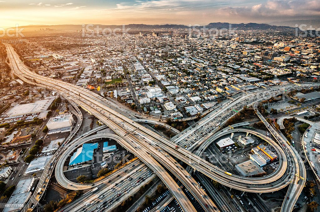 Freeway interchanges at dusk stock photo