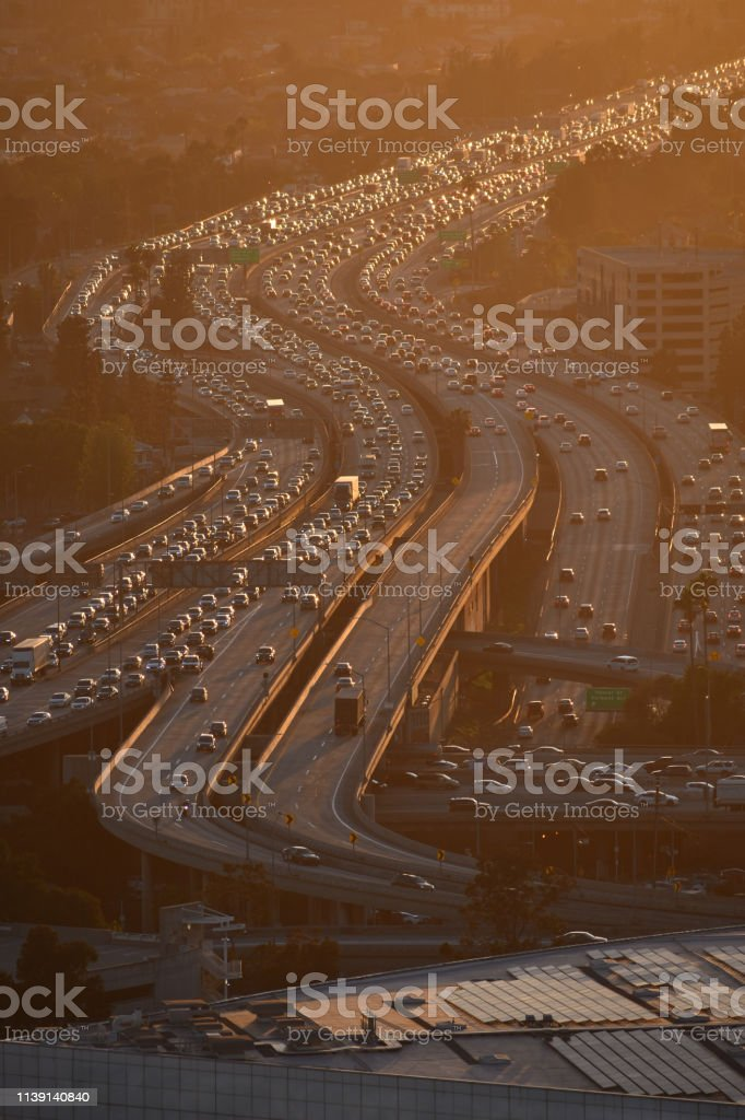 10 Freeway looking West with Sunset Color Close-up stock photo