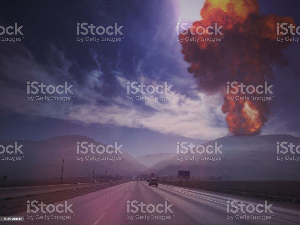 I-5 Freeway, Los Angeles Nuke stock photo