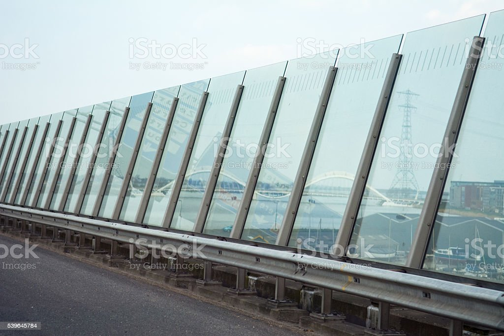 Freeway Noise barrier Amsterdam IJburg stock photo
