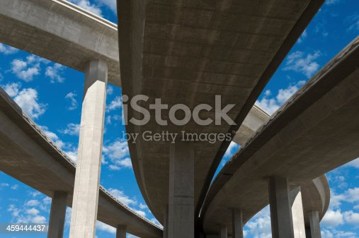 Elevated roadway with bright blue sky
