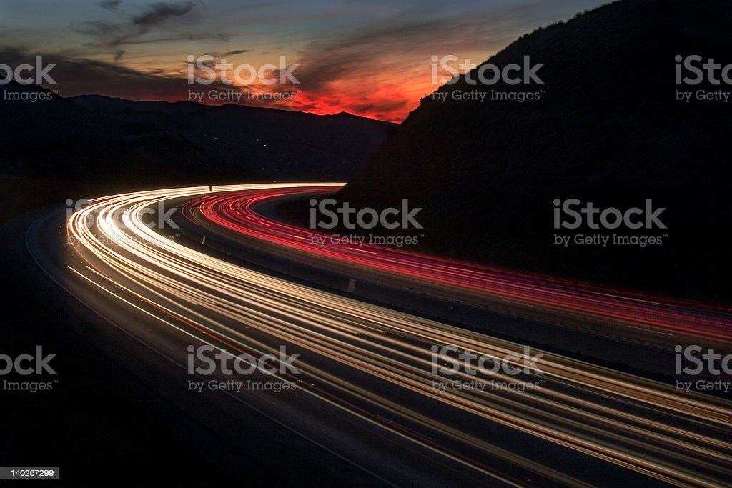 Freeway sunset stock photo