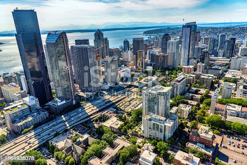Aerial view of Interstate 5 bisecting downtown Seattle, Washington from about 1000 feet in altitude.