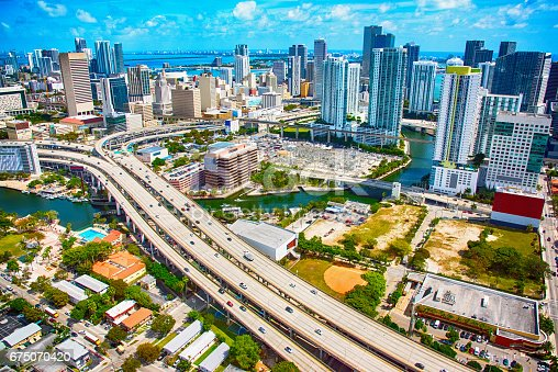 802893644 istock photo Freeway Through Miami Florida From Above 675070420