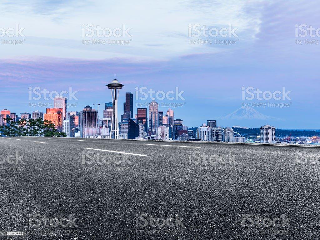 freeway through seattle at night stock photo
