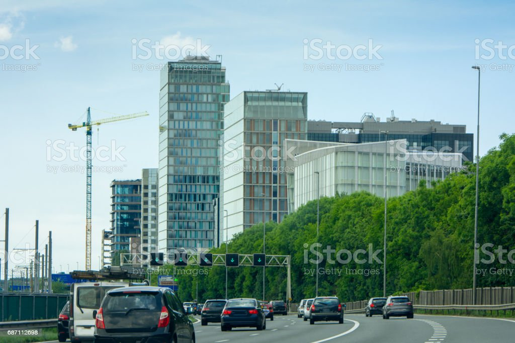 Freeway through the zuid-as Amsterdam business district stock photo