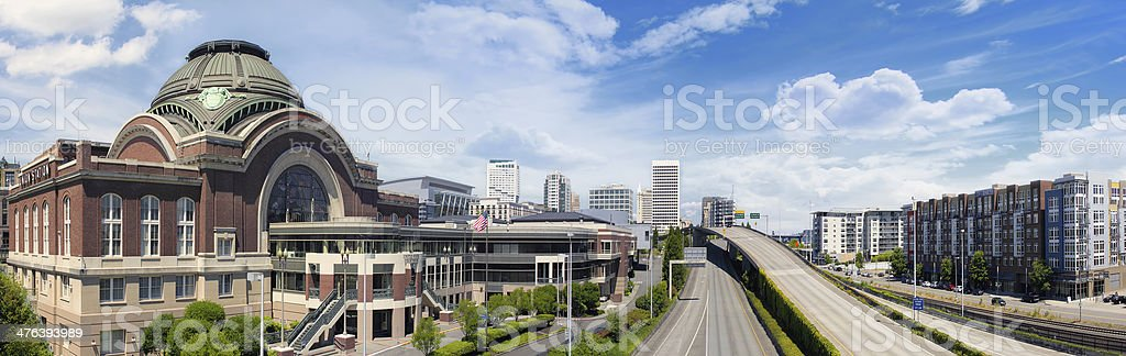 Freeways to City of Tacoma Washington stock photo
