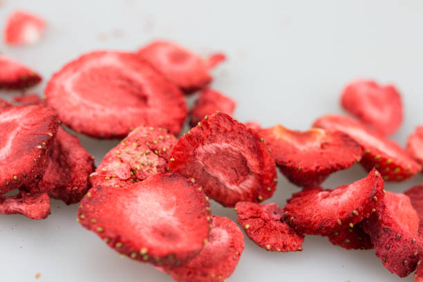 freeze dried strawberries / lyophilized. - dried food stock photos and pictures
