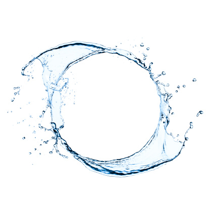 Freeze frame photography of splashing water. Isolated in white.