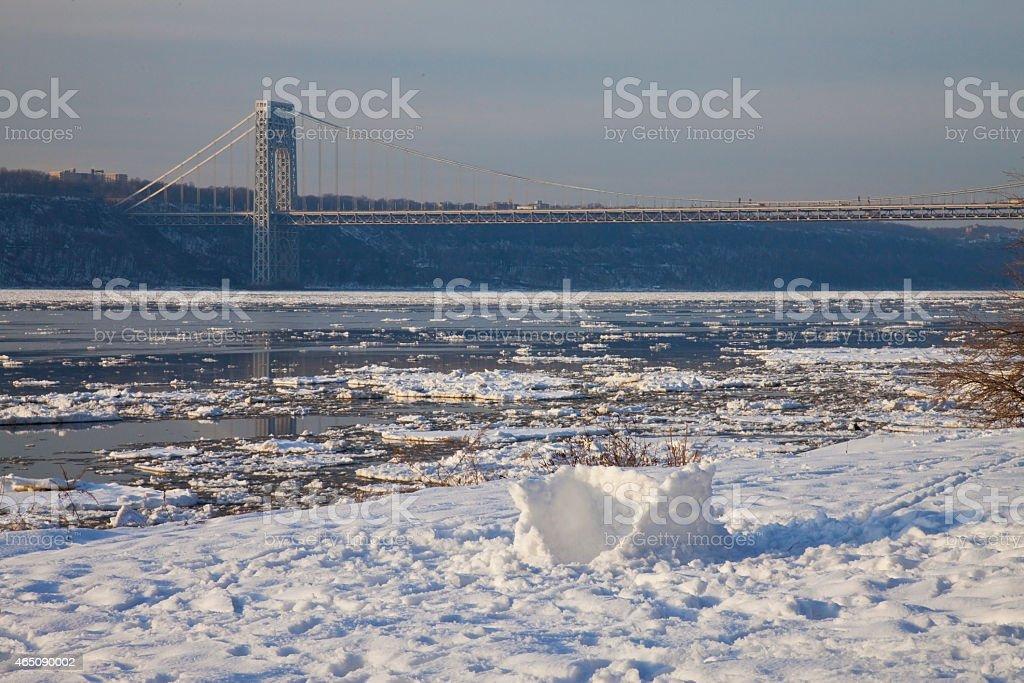 Freeze George washington bridge stock photo